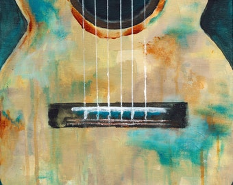 Guitar Acrylic Painting Giclée Print Art Wall Decor