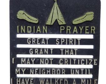 Vintage Small Trivet Rustic Metal Wall Hanging Indian Prayer