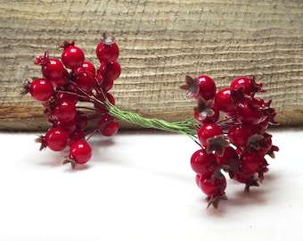 Deep Red Pomegranate Double Headed Wire Wrap Fruit Picks in a Package of 20
