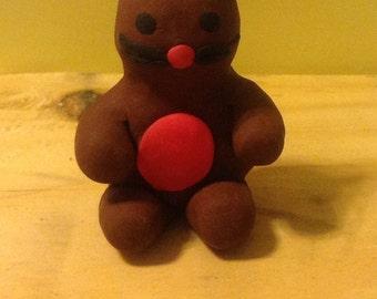Teddy bear-mouse polymer clay figure