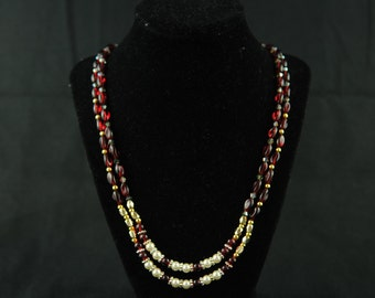 Red Glass Beads double string necklace with White and Gold bead accents