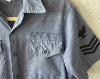 VTG Military Brewer Chambray Eagle Shirt