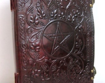 Large Pentacle emboss Book Of Shadow Leather Journal Diary Notebook Sketchbook album