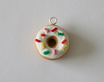 Miniature Donut Charm with Sprinkles and White Frosting - Polymer Clay Food Jewelry