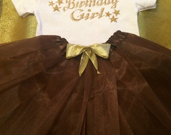 Birthday Girl Brown Tutu Set
