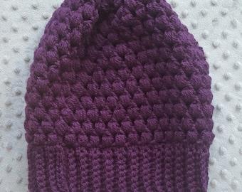 crochet puff stitch slouchy hat