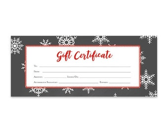 Snowflake, Chalkboard, Christmas Gift Certificate, Download, Printable, Premade Gift Certificate, Template, Discount Coupons