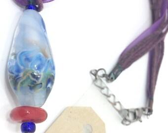 Ocean Waves Bead pendant necklace mandrel and handworked artisan centerpiece gazing stone pendant on purple ribbon