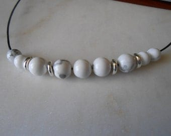 White Howlite & Silver bead necklace