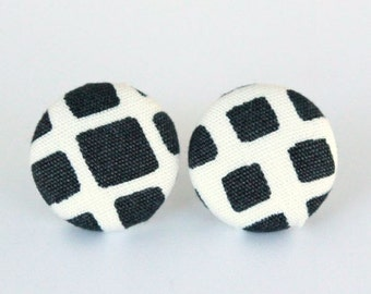 Buy 3 Get 1 Free! Black & White Fabric Button Earrings