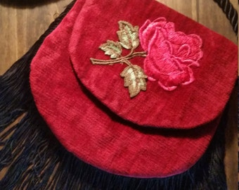 Gorgeous Vintage Red Velour Fringed Evening Bag