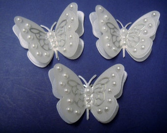 4 pearl set vellum 3d butterflies  weddings birthdays cake decoration crafts
