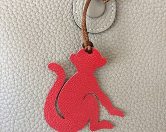 Leather Monkey Bag Charm with Cord