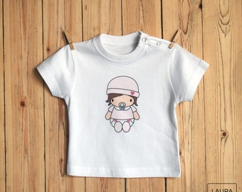 baby t-shirt / tee-shirt girl brown baby / digital print