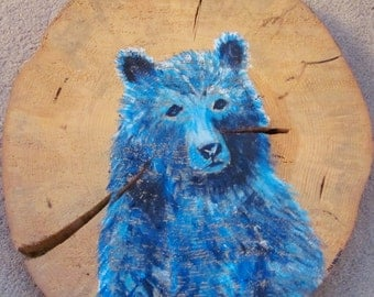 Blue Beary acrylic on pine