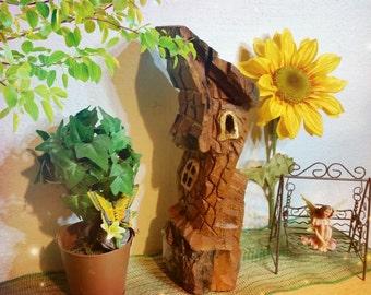 Handmade Cottonwood carving - Magical Fairy House - Tree House