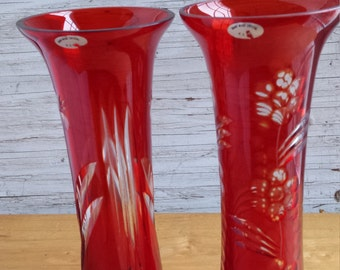 USSR (Russia) Hand Made Red Crystal Vases (Pair)