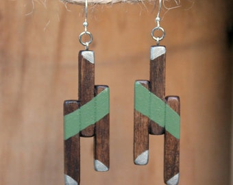 Wood Earrings, Geometric Earrings, Spring earrings, Olive Green, Silver Earrings, Boho jewelry, Natural Wood, Wood jewelry, Boho, Unique