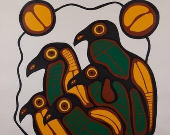 "Norval Morrisseau ""Five Brown Birds"" Large Signed Print"