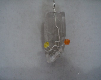 Pendant Clear Quartz with Yellow/Orange Swarovski 925 (#638   )