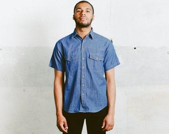 Summer Chambray Shirt . Vintage Short Sleeve Dark Wash Denim 90s Shirt Blue Summer Shirt Mens Jeans Shirt Casual Denim Shirt . size Medium