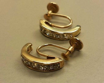 14K Yellow Gold and Diamond Screw Back Earrings