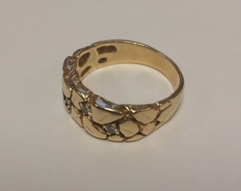 14K Yellow Gold Nugget-Styled Ring/Band With 4 Diamonds