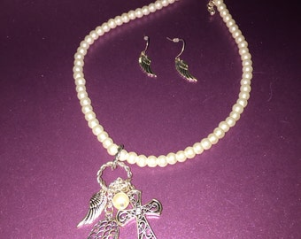 Angel Wings Necklace and Earrings