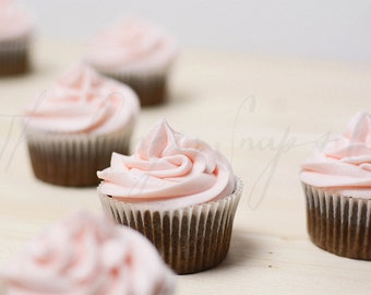 Styled Stock Photography | Chocolate Cupcakes with Pink Frosting | Styled Food Photography | Digital Image
