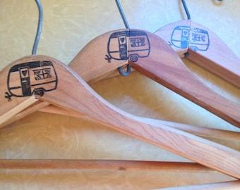 3 Vintage Wooden Hangers For Glamping
