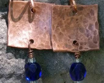 Square copper earrings. Blue earrings. Copper earrings. Lightweight earrings. Blue beaded earrings. Boho earrings. Hammered copper dangles.