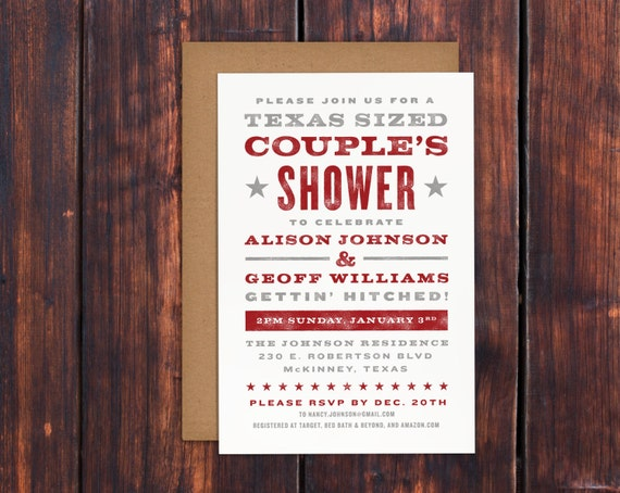 Rustic Country Couple's Shower Invitation