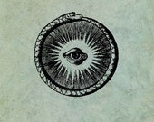 Ouroboros Snake Circling an All Seeing Eye LARGE - Antique Style Clear Stamp
