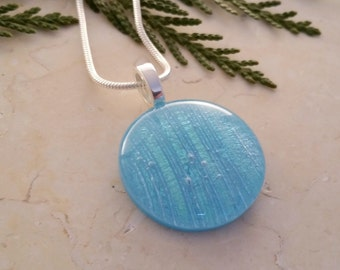 Fused Glass Pendant, Turquoise Glass with Dichroic Accents 16105