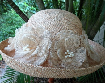 Classic Straw Hat - Vintage Raffia Hat Adorned with Straw Flowers