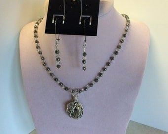 Pyrite from Butte, Mt. Wire wrapped , necklace and earrings set