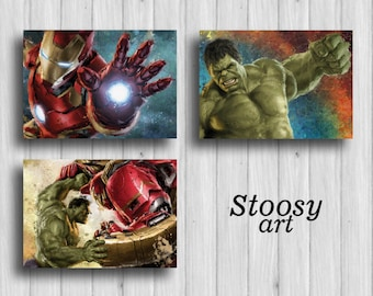 Marvel Avengers Poster Set Of 3 Hulk Art Iron Man Painting Superhero Decor Marvel  Wall Art