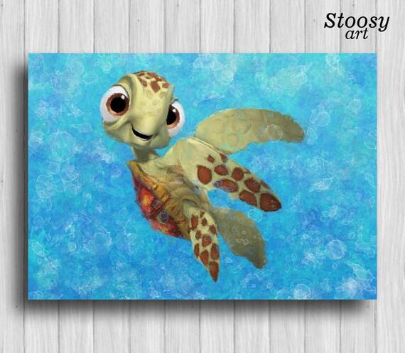 squirt finding nemo print nautical painting nursery wall decor