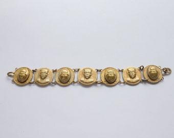 VINTAGE SOUVENIR BRACELET -  Egyptian souvenir bracelet -1930s souvenir bracelet - Pharaoh and scarab beetle - vintage beetle bracelet