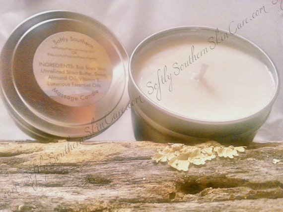 Massage candle massage oil melting by softlysouthernskinco for Massage gifts for her