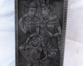 Box, Rama & Sita, wood carving (bxrmSt7.5_4_2.5)