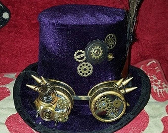 Hand crafted velvet SteamPunk Top-Hat