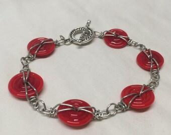 Red Wired Disk Bracelet