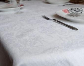 "Cotton Tablecloth, vintage Soviet kitchen tablecloth, retro white rectangular tablecloth, kitchen decor, BSSR, 180 x 150 cm, 70x59"""