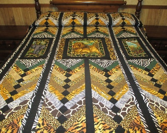 Queen size animal print quilt