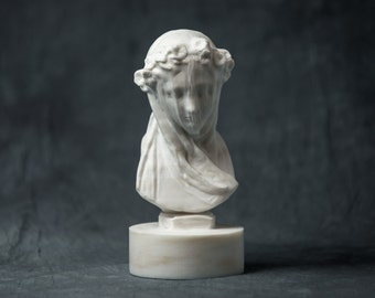 MARBLE bust of Veiled Lady by Monti statue carved figurine artist sculpture
