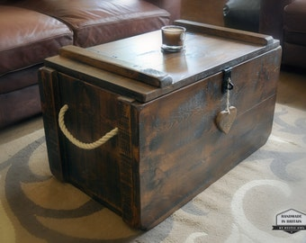 Rustic Waxed Pine Wooden Blanket Box Storage Chest Trunk Coffee Table  Ottoman Part 66