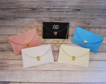 Personalized / Monogrammed Envelope Clutch With Removable Gold Shoulder Strap