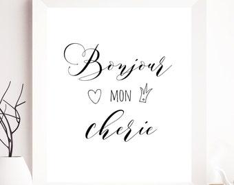 SALE, Bonjour mon cherie, typography printable, french quote, typography bonjour typography printable, french quotes, french printable art