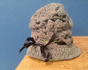 Slouchy Gray-Blue Baby Girl Hat